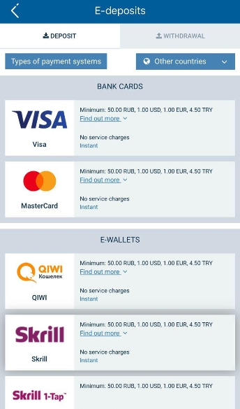 1xBet mobi payments